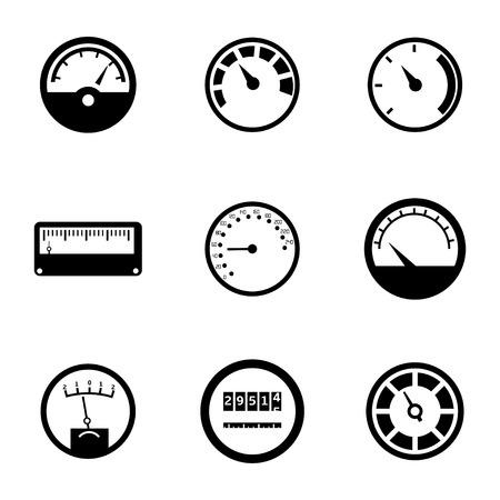 miernik: Wektor zestaw ikon czarny metr na białym tle Ilustracja