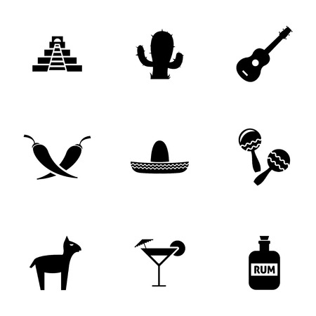 mexican sombrero: Vector black mexico icons set on white background