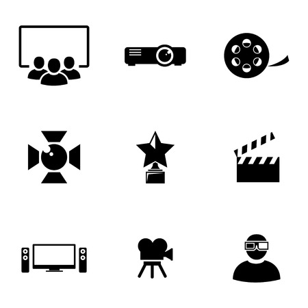 Vector black movie icons set on white background