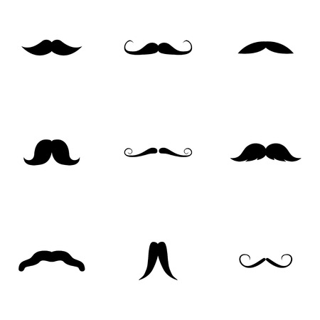 Vector black mustaches icons set on white background Vector
