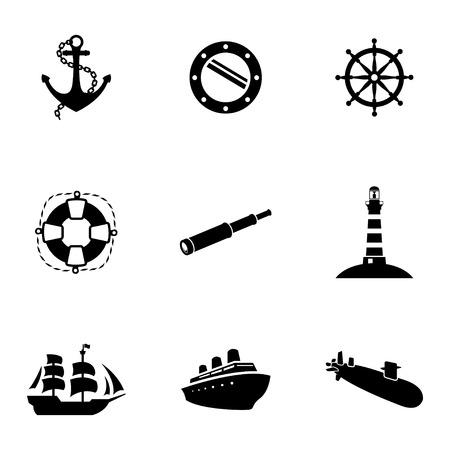 cruise ship: Vector black nautical icons set white background
