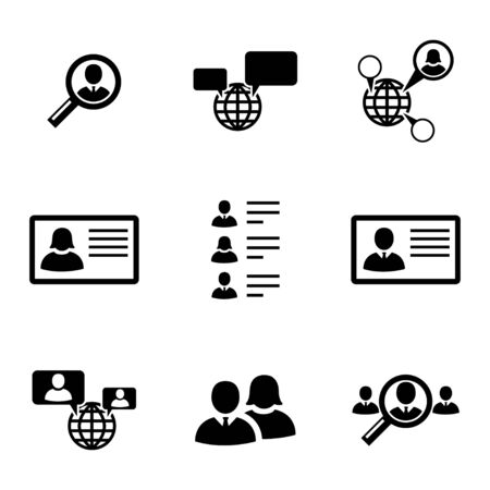 Vector black people search icons set on white background