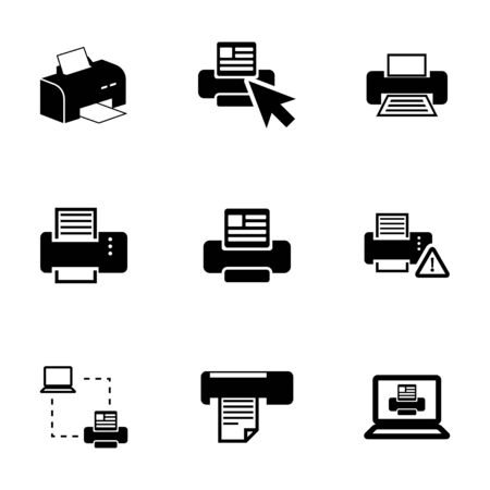 balck: Vector balck printer icons set on white background