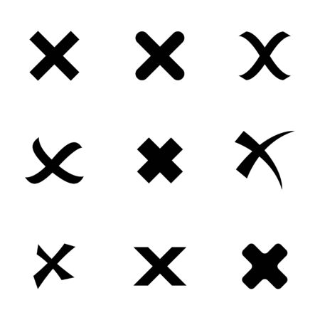Vector black rejected icons set on white background Vector