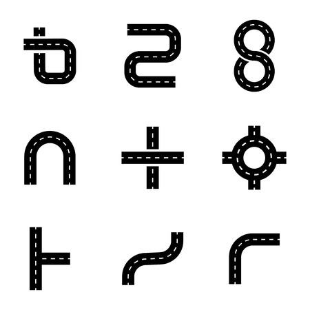Vector black road elements icons set on white background Illustration