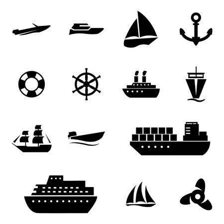 inflate boat: Vector black ship and boat  icons set on white background