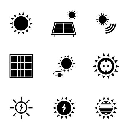 photovoltaic panel: Vector black solar energy icons set on white background