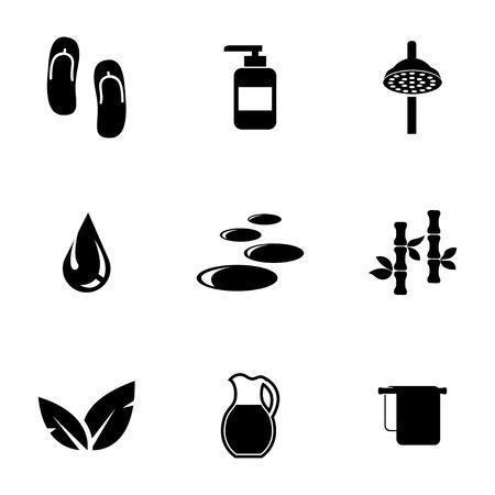 sauna: Vector black spa icons set on white background