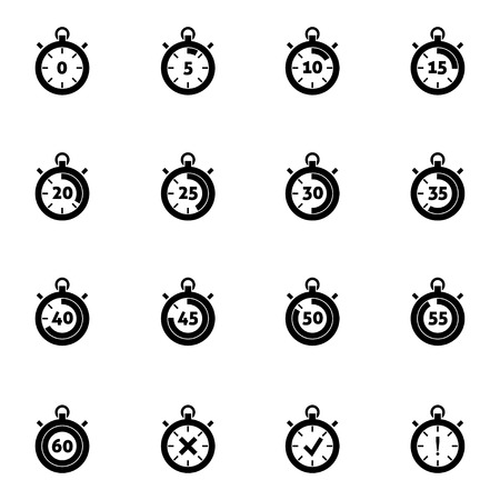 Vector black stopwatch icons set on white background Vector