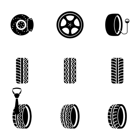 Vector black tire icons set on white background Illustration