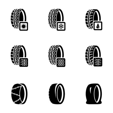 Vector black tire icon set on white background Vector