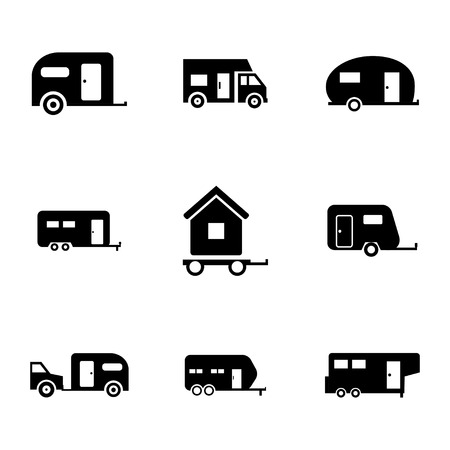 caravan: Vector black trailer icons set on white background