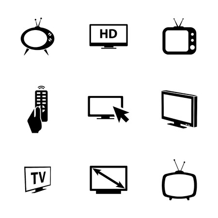 Vector black TV icons set on white background Vector