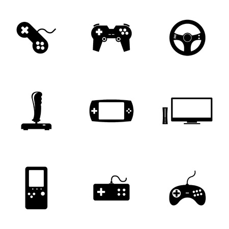 Vector black video game icons set white background Vector
