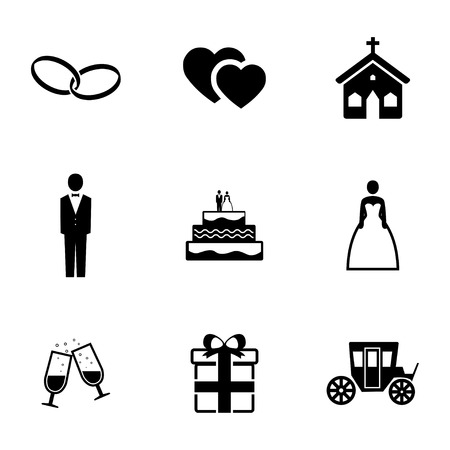 Vector black wedding icons set on white background Illusztráció