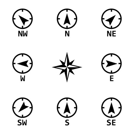 nautical compass: Vector black wind rose icons set on white background