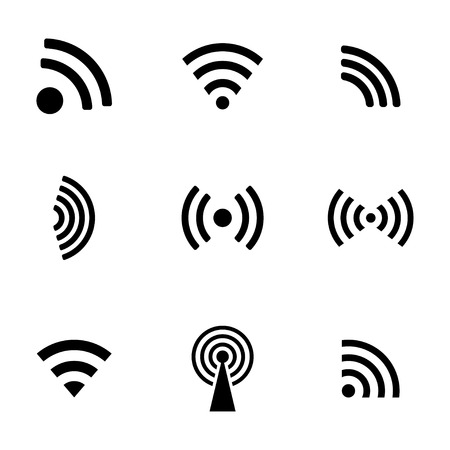 Vector black wireless icons set white background