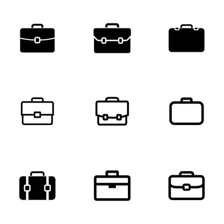 black briefcase: iconos malet�n negro conjunto sobre fondo blanco Vectores
