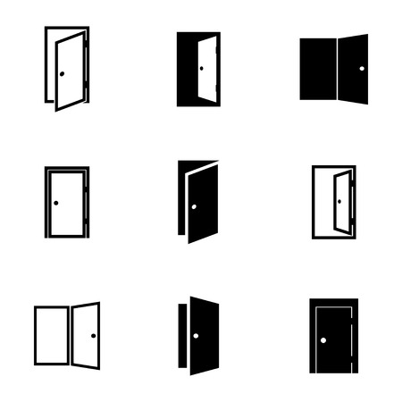 black door icons set on white background