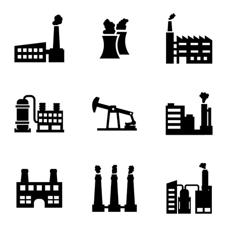 black factory icons set on white background Vector