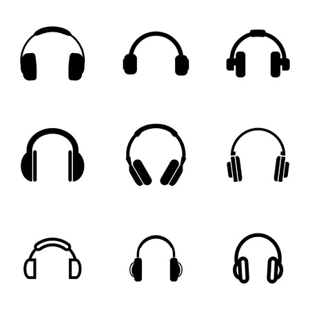 black headphone icons set on white background Иллюстрация