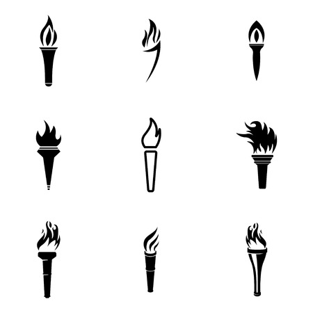 black torch icons set on white background Vector