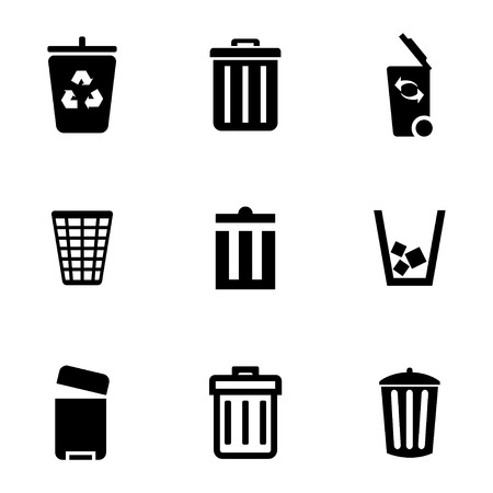 black trash can icons set on white background