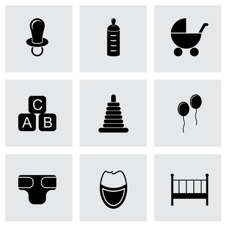 Vector black baby icon set on grey background
