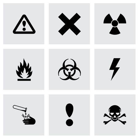 chemical hazard: Vector black danger icon set on grey background