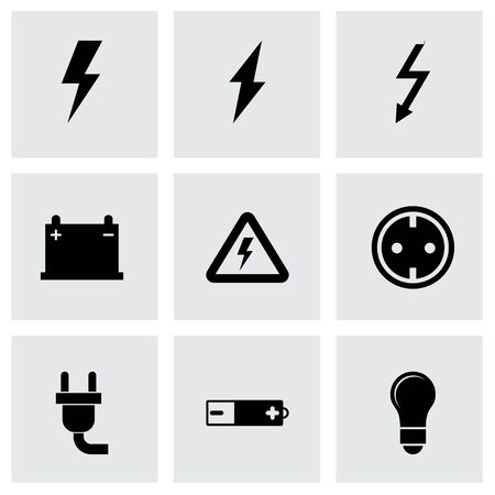 electricity meter: Vector black electricity icon set on grey background