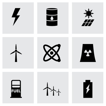 energetics: Vector black energetics icon set on grey background