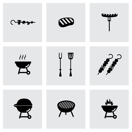 barbecue: Vector black barbecue icon set on grey background