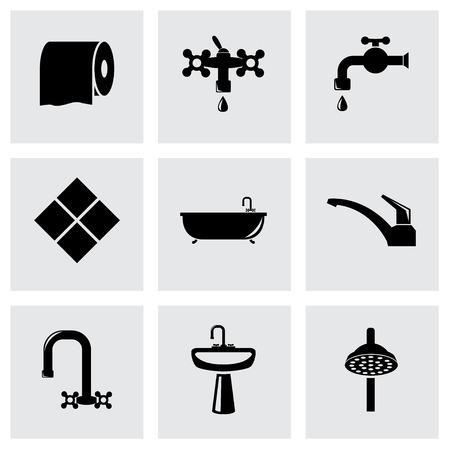 bathroom icon: Vector black bathroom icon set on grey background Illustration