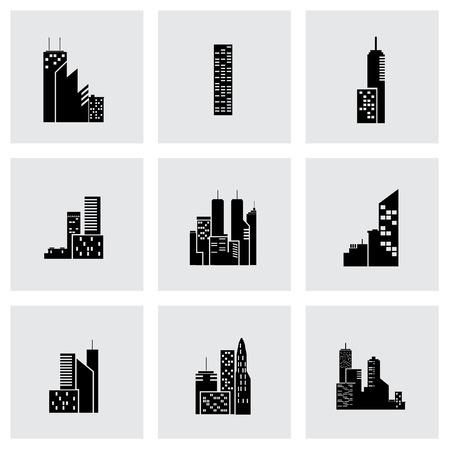 Vector black building icon set on grey background Illustration
