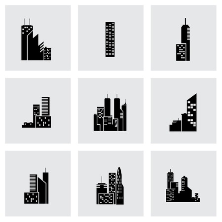 Vector black building icon set on grey background Vettoriali