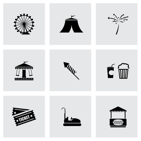 park icon: Vector black carnival icon set on grey background