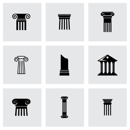 greek column: Vector black column icon set on grey background