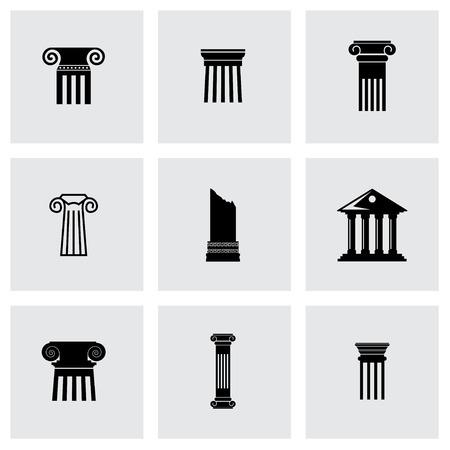roman column: Vector black column icon set on grey background