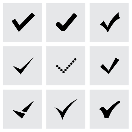 tick icon: Vector black confirm icon set on grey background