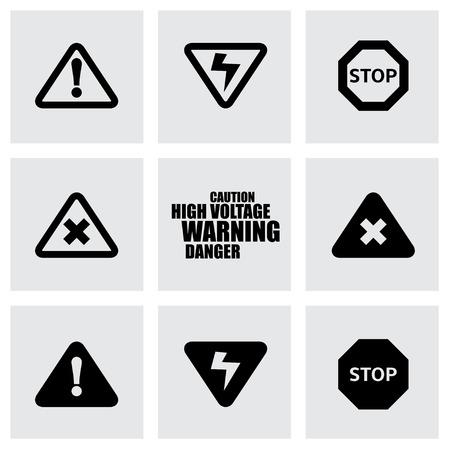 gas mask warning sign: Vector black danger icon set on grey background