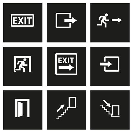 emergency exit label: Vector black exit icon set on black background