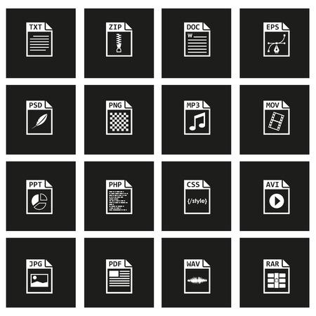 file type: Vector black file type icon set on black background Illustration