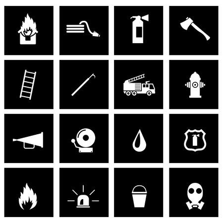 incendio casa: Vector icono bombero negro situado en el fondo negro
