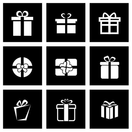 giftboxes: Vector black gift icon set on black background Illustration
