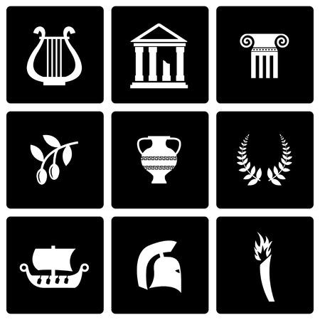 greek temple: Vector black greece icon set on black background Illustration