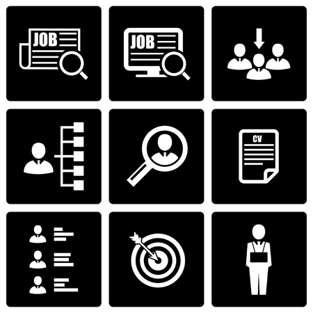 job icon: Vector black job search icon set on black background Illustration