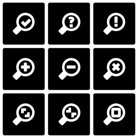 Vector black magnifying glass icon set on black background