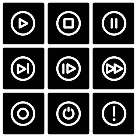 media buttons: Vector black media buttons icon set on black background