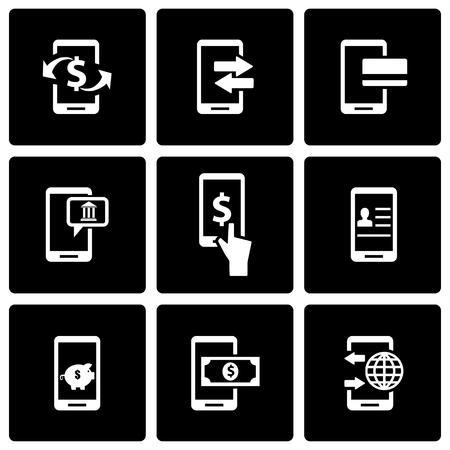 mobile banking: Vector black mobile banking icon set on black background