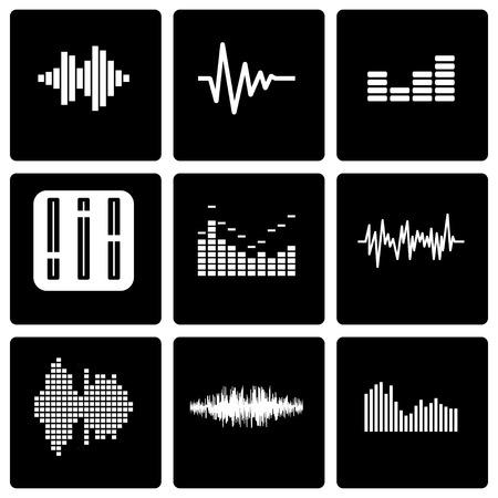 soundwave: Vector black music soundwave icon set on black background